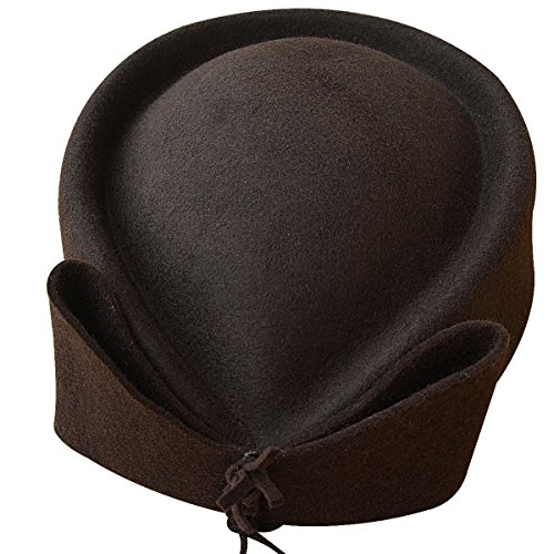 Ladies Teardrop Fancy Wool Fascinator Cocktail Pillbox Hat Formal Racing A253 (Brown)