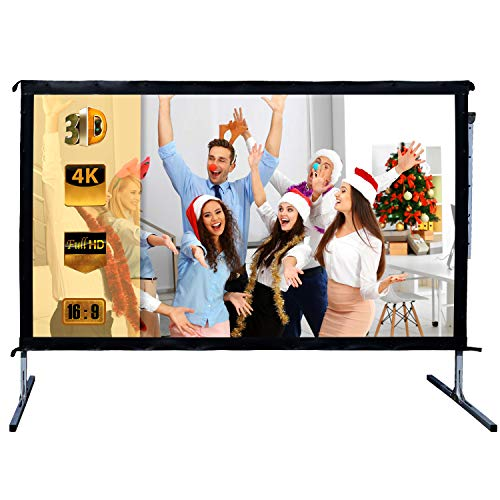 Outdoor Indoor Projector Screen with Stand, 144 inch HD Foldable Portable Projector Screen, 8K 4K 3D 16:9 Projection Movie Screen for Home Theater Camping Recreational Events, Waterproof, Anti-Crease by Stamo (Image #1)