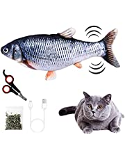 Electric Fish Cat Toy, Pet Cat Wagging Fish Realistic Moving Plush Simulation Electric Doll Fish Plush Toy with Interactive Cat Catnip Toy for Cat Exercise
