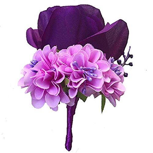 WeddingBobDIY Boutonniere Buttonholes Groom Groomsman Best Man Rose Wedding Flowers Accessories Prom Suit Decoration Purple ()