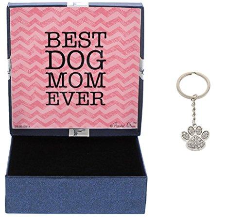 Best Dog Mom Ever Crystal Adorned Dog Paw Keychain Keytag Gifts for Dog Lover Dog Keychain & Gift Box Bundle
