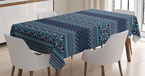 (Ambesonne Nordic Tablecloth, Festive Knitted Pattern with Chevron Herringbone Abstract Snowflake, Dining Room Kitchen Rectangular Table Cover, 60 W X 84 L Inches, Turquoise Blue)