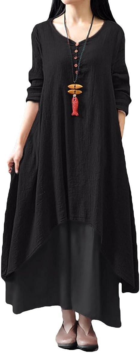 TALLA L. Romacci Vestido Suelto Vestido Ocasional de Las Mujeres Manga Larga Sólida Maxi Vestido Largo de Boho Negro