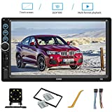 7 Inch Double Din Car Stereo Compatible with Bluetooth Headunit TF USB FM Aux-in Radio Audio Touchscreen MP5 Player Receiver Support Android & iPhone Mirror Link with Backup Rear-View Camera