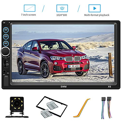 7 Inch Double Din Car Stereo Compatible with Bluetooth Headunit TF USB FM Aux-in Radio Audio Touchscreen MP5 Player Receiver Support Android & iPhone Mirror Link with Backup Rear-View Camera (Best Double Din Head Unit Under 200)