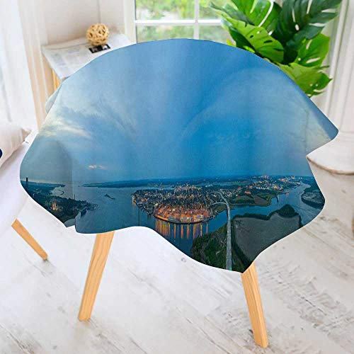 Jiahonghome Round Premium Tablecloth for Wedding/Banquet/Restaurant-Charleston, South Carolina Takes a Panoramic View of The City from The Highest p Polyester Fabric Table Cloth 67