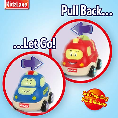 Kidzlane Pull Back Cars for Toddlers | Baby Toy Cars for 1 to 3 Year Old Boy or Girl | Soft & Sturdy Pull Back Car Toys | Set of 4