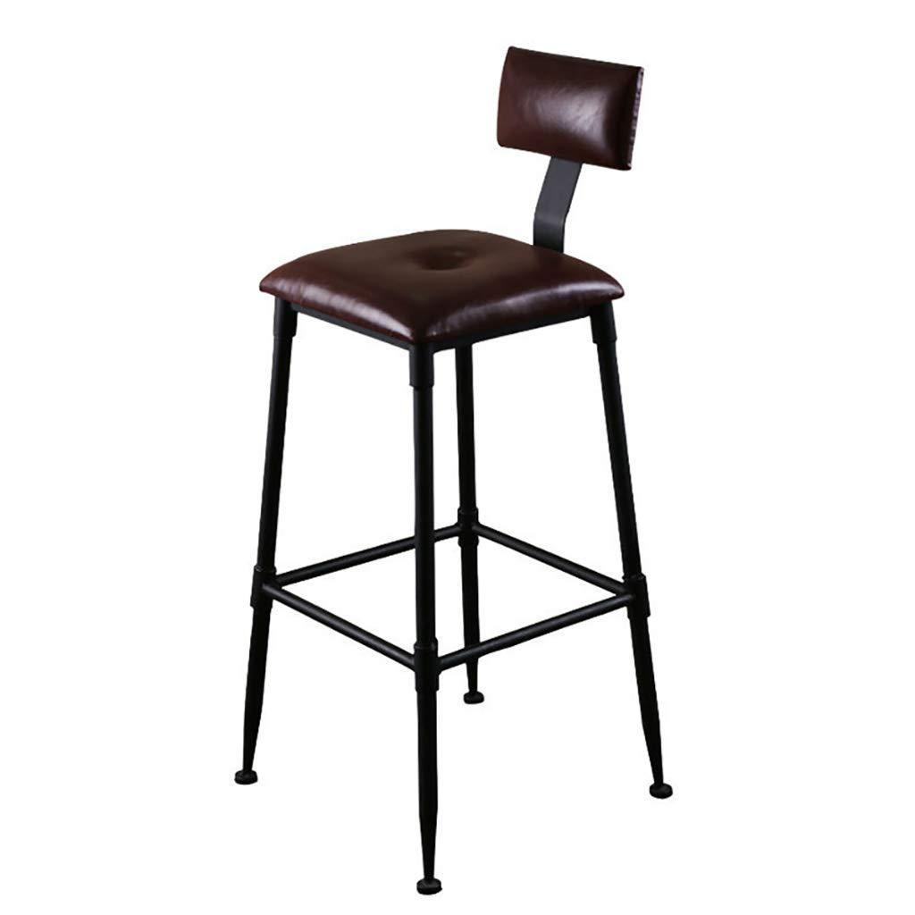 Dark brown 30  Modern Retro Industrial bar Stool - Kitchen Counter bar Chair Metal Bracket, PU Leather seat, Sponge Padding