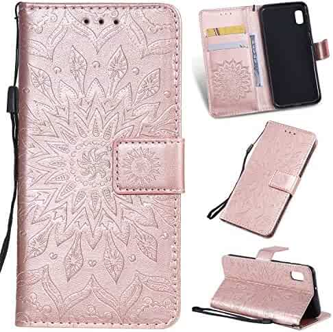 Cfrau Kickstand Wallet Case with Black Stylus for Samsung Galaxy A10E,Retro Mandala Sunflower PU Leather Magnetic Flip Folio Stand Soft Silicone Card Slots Case with Wrist Strap - Rose Gold