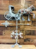LARGE Hand Crafted 3D HORSE & BUGGY WEATHERVANE - Copper Patina Finish - Outside House or Outdoor Yard Accent - Carriage - Surrey