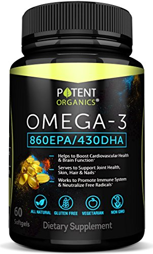All Natural Omega 3 Softgels – 1480 mg Essential Fatty Acids - Extra Potency with 860 EPA / 430 DHA – 60 Capsules – Burpless Fish Oil Pills Supplement – Nature Made – 100% Money Back