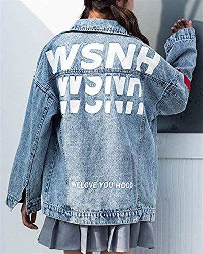 Als Jeans Libero Lunga Cute Chic Autunno Jacket Bild Denim Outerwear Bavero Primaverile Giubbino Fashion Fidanzato Tempo Vintage Cappotto Donna Manica Eleganti Sciolto SR4xqwfw