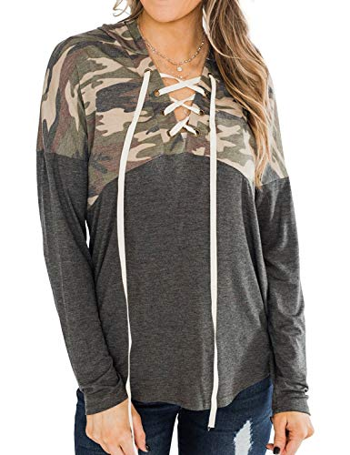 MYMORE Women Lace Up Camouflage Spliced Hoodies Long Sleeve Color Block Blouse Tops