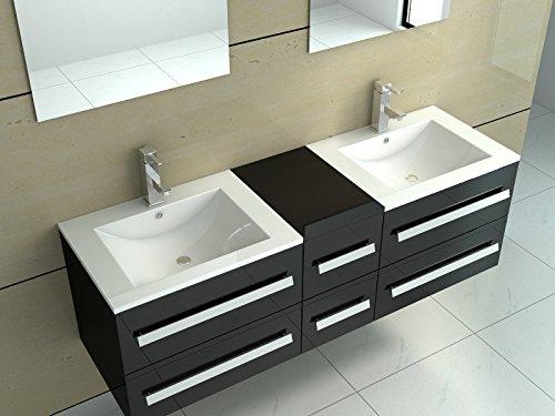 interougehome ensemble de meubles de salle de bain en bois avec double vasques coloris noir laqu brillant miroir mural avec 2 tagres latrales - Meuble Salle De Bain Noir Laque