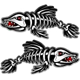 ProSticker 1500 (Two, A Right and a Left facing) 7.6cm X 17.7cm Fishing Art Series Fish Skeleton Decals Sticker