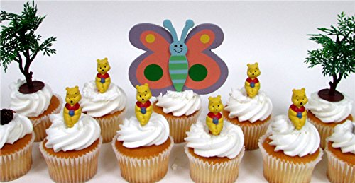 WINNIE THE POOH 12 Piece Birthday CUPCAKE Topper Set Featuring 6 Winnie the Pooh Figures and Decorative Themed Accessories, Figures Average 1.5