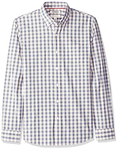 (Goodthreads Men's Slim-Fit Long-Sleeve Plaid Poplin Shirt, -ivory check, X-Large)