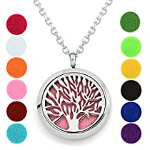 Aromatherapy Necklace - Tree of Life 316l Stainless Steel Essential Oil Deffuser Locket NecklacePendant