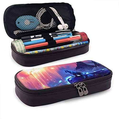 Tessipolo Two Tigers Under The Stars Black Leather Pencil Case Shell Pen Case Holder For Executive Fountain Pen And Stylus Touch - Leather Black Executive Tigers