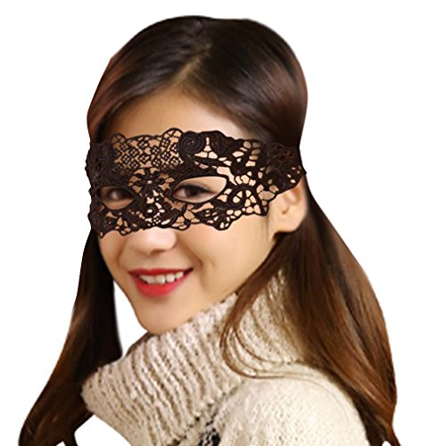 Sexy Mysterious Lacy Eye Mask Eyepatch, Black, One Size