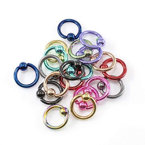 (BodyJewelryOnline 20 Micro Captive Bead Rings - Anodized Titanium 14GA 5/16 - Lip, Ear, Nose)