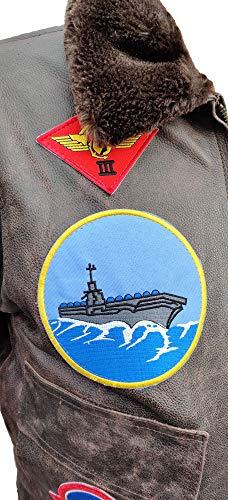 Noble House Homme Veste Aviation Top Gun Mavericks en Cuir de Taureau Marron foncé 3