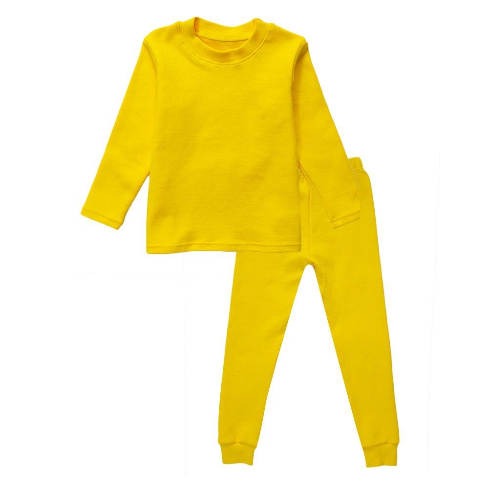 Little Girls Boys Thermal Underwear Long John Set Thermal Breathing Pajama Crewneck Top and Bottom 2PC Set, (Yellow, 7T)