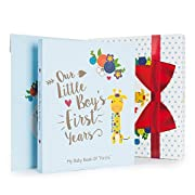 Ronica Baby Boy Gift Set With Baby Memory Book, Monthly Stickers: Modern Photo Journal And Keepsake Album For Boys, First 5 Years, Shower Gift Idea For Mom, Dad Or Grandparents