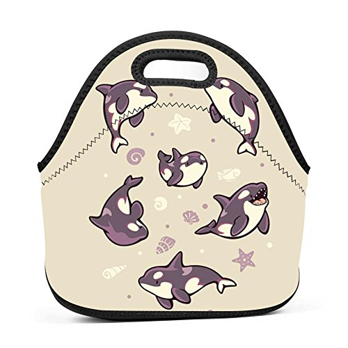 UNVMC Jelly Bean Orcas Reusable Cotton Lunch Bag Insulated L