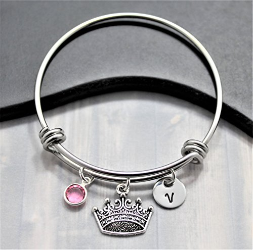 Princess Crown Bracelet for Girls - Personalized Birthstone & Initial - Disney Princess Jewelry - Personalized Princess Gift - Fast Shipping]()