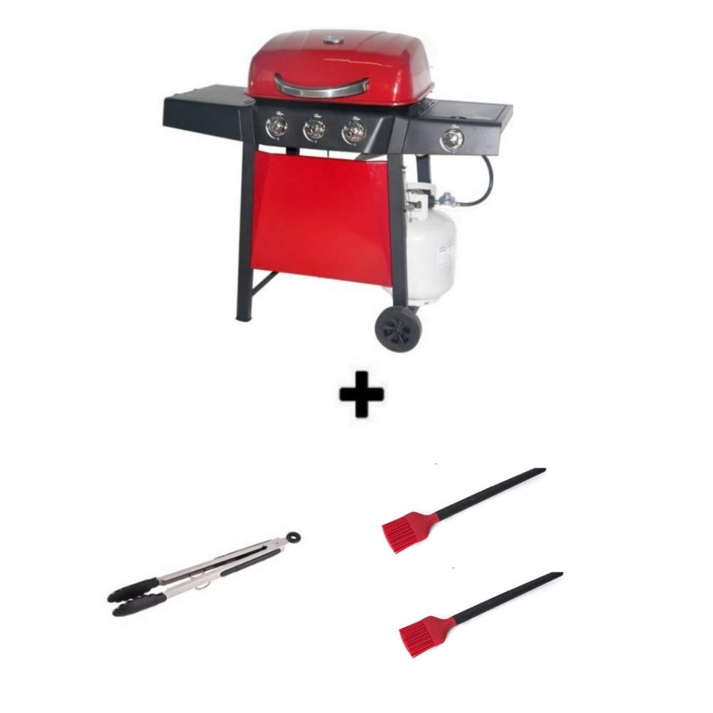 Durable Outdoor Barbeque & Burger Gas/Charcoal Grill (3-Burner Grill, Red) by Backyard Grill
