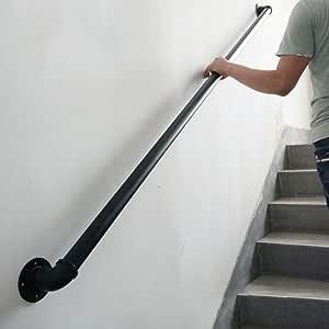 HRXAN-Pasamanos Barandilla de 30cm-600cm para escaleras, Barra de Agarre de barandilla de tubería de Loft de Hierro Negro Industrial para Pasillo de escaleras de Puerta Exterior: Amazon.es: Hogar