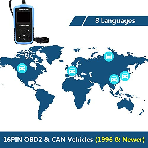 Auto Code Reader TOPDON AL201 OBD2 Scanner Car Diagnostic Tool Full OBDII Functions Scan Tool for I/M Emission Test, On-board Monitoring and Turning off MIL(Check Engine Light) by TT TOPDON (Image #6)