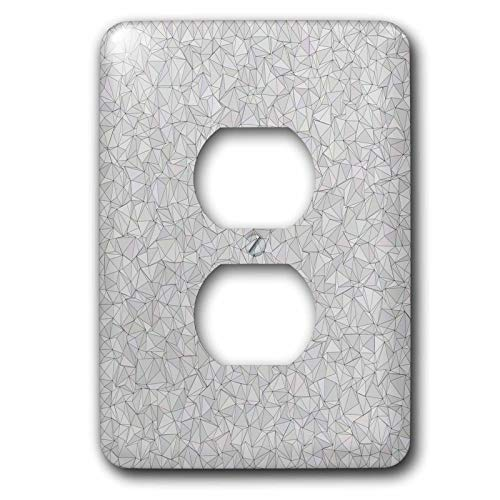 Mosaic David - 3dRose David Zydd - Triangle Backgrounds - Silver irregular triangle mosaic - Light Switch Covers - 2 plug outlet cover (lsp_301896_6)