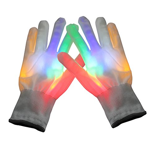 TDCYHHX Gloves LED Finger Light up Gloves for Kids Adults,7 Mode Amazing Flash Lights Glove for Rave Party Light Show Concert - Best Halloween (White)