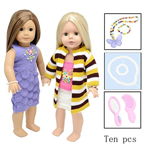 (Doll Clothes Accessories for American Girl Wardrobe Makeover- 10 pieces for 18 Inch Fits for Journey Girls, Our Generation,Different Barbie Doll Accessories of Best Dressed Doll)