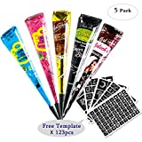 5Pcs Temporary Tattoo India Henna Kit Tattoo Paste Cone Body Art Painting Drawing with 117 pcs Free Tattoo Templates,Black,Brown,Red,Blue, Rose-Carmine (5Pcs)