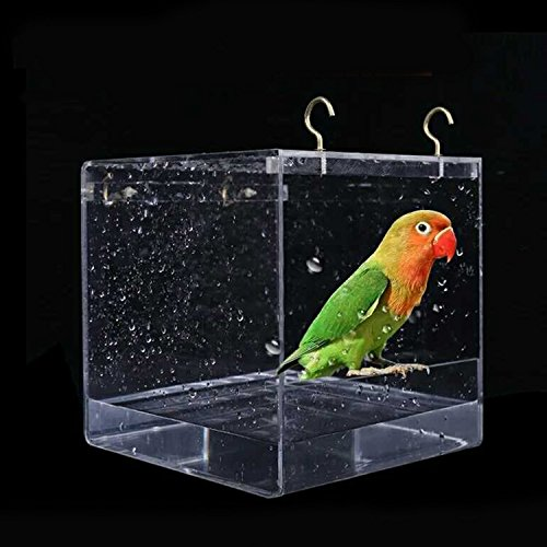 Kangkangk Cube Bird Bathtub Bath Shower Box Bowl with Hooks Cage Accessory for Little Bird Parrots Crested Myna