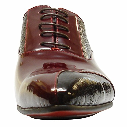 Men Stacked with Burgundy Dress Heels Designer Pointed Shoes Shoes and Encore Closed Leather Fiesso Toe Oxfords q1FtBwx