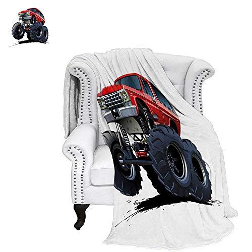WilliamsDecor Truck Custom Design Cozy Flannel Blanket Extreme Off Road  Vehicle Cartoon Style Monster Truck Motorsports Illustration Blanket  80