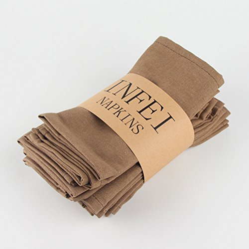 INFEI Soft Solid Color Linen Cotton Dinner Cloth Napkins - Pack of 12 (40 x 40 cm) - For Events & Home Use (Coffee) by INFEI (Image #1)