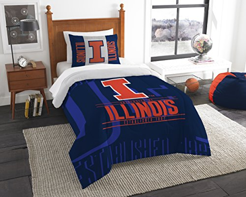 Northwest Officially Licensed NCAA Illinois Illini Modern Take Twin Comforter and Sham (Illinois Sham)