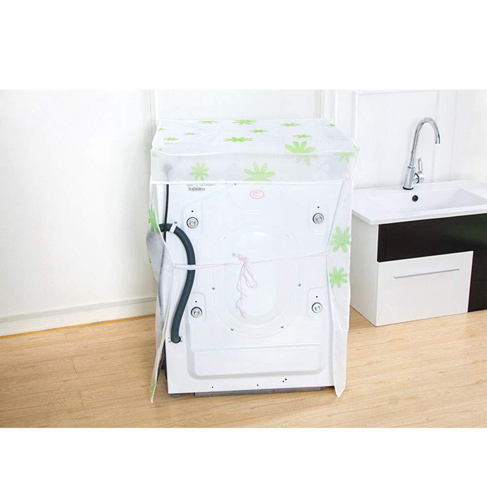 Transparente, dise/ño de hibiscos Verde Vosarea Funda para Lavadora Carga Frontal Lavadoras Secadora Impermeable