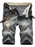 IWOLLENCE Men's Fashion Ripped Distressed Straight Fit Denim Shorts With Hole Copper Gray-US 34