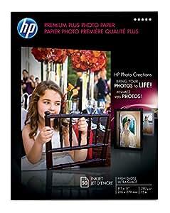 HP Premium Plus Photo Paper, High Gloss (50 Sheets, 8.5 x 11 Inches)