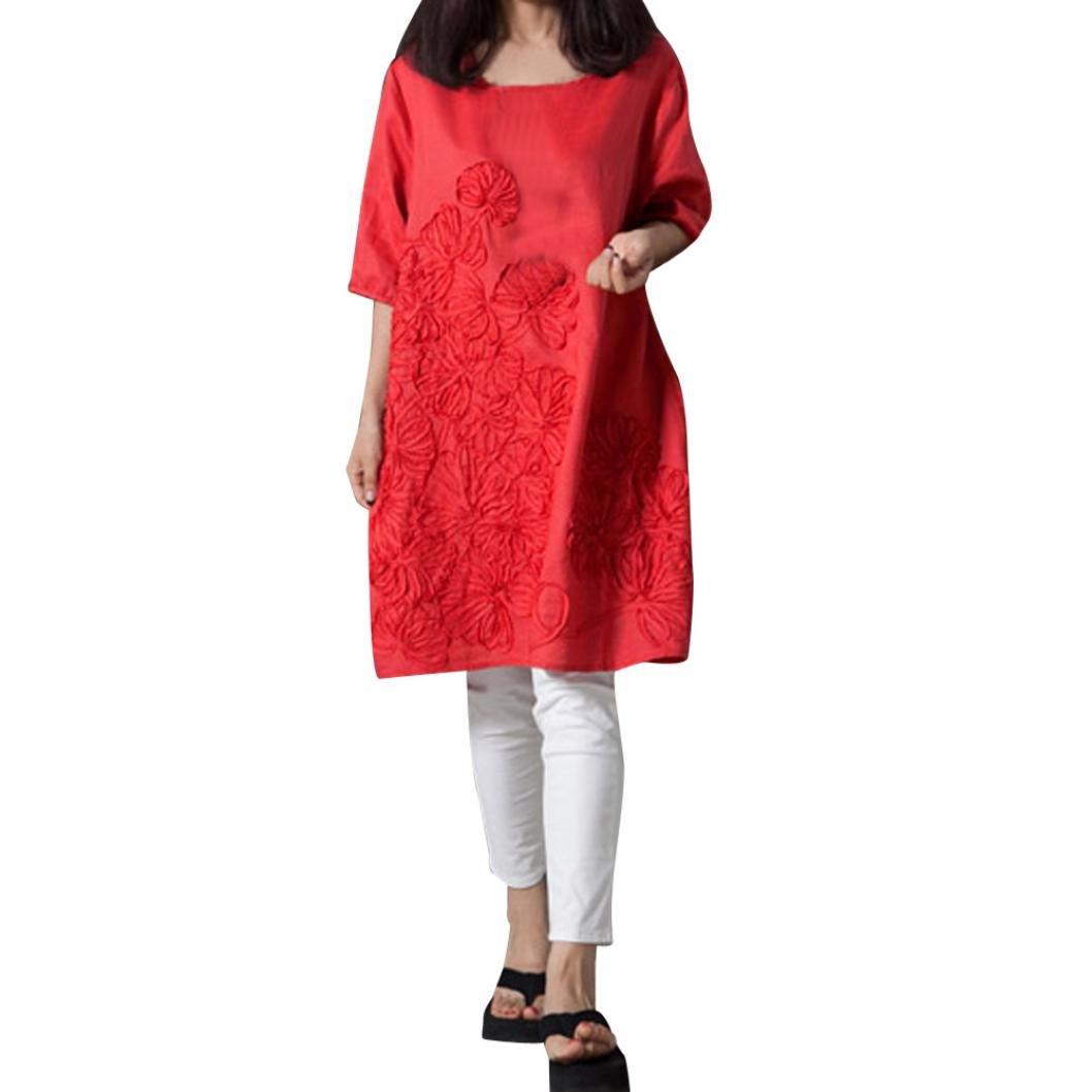 vermers Clearance Women Boho Dresses Fashion Half Sleeve O Neck Floral Patchwork Cotton Linen Loose Casual Dresses(L, Orange)