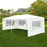 Tangkula Outdoor 10'x20' Tent, Party Wedding Tent with Removable Walls, Portable Canopy Shelter Gazebo Pavilion for Event Car, Carport, White Canopy w/Carry Bag (4 Sidewalls)