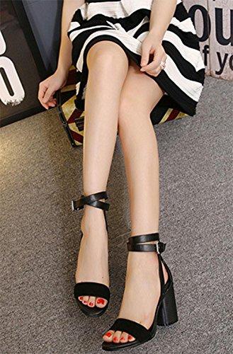MEILI Las mujeres abrochan las sandalias del talón de la hebilla 2