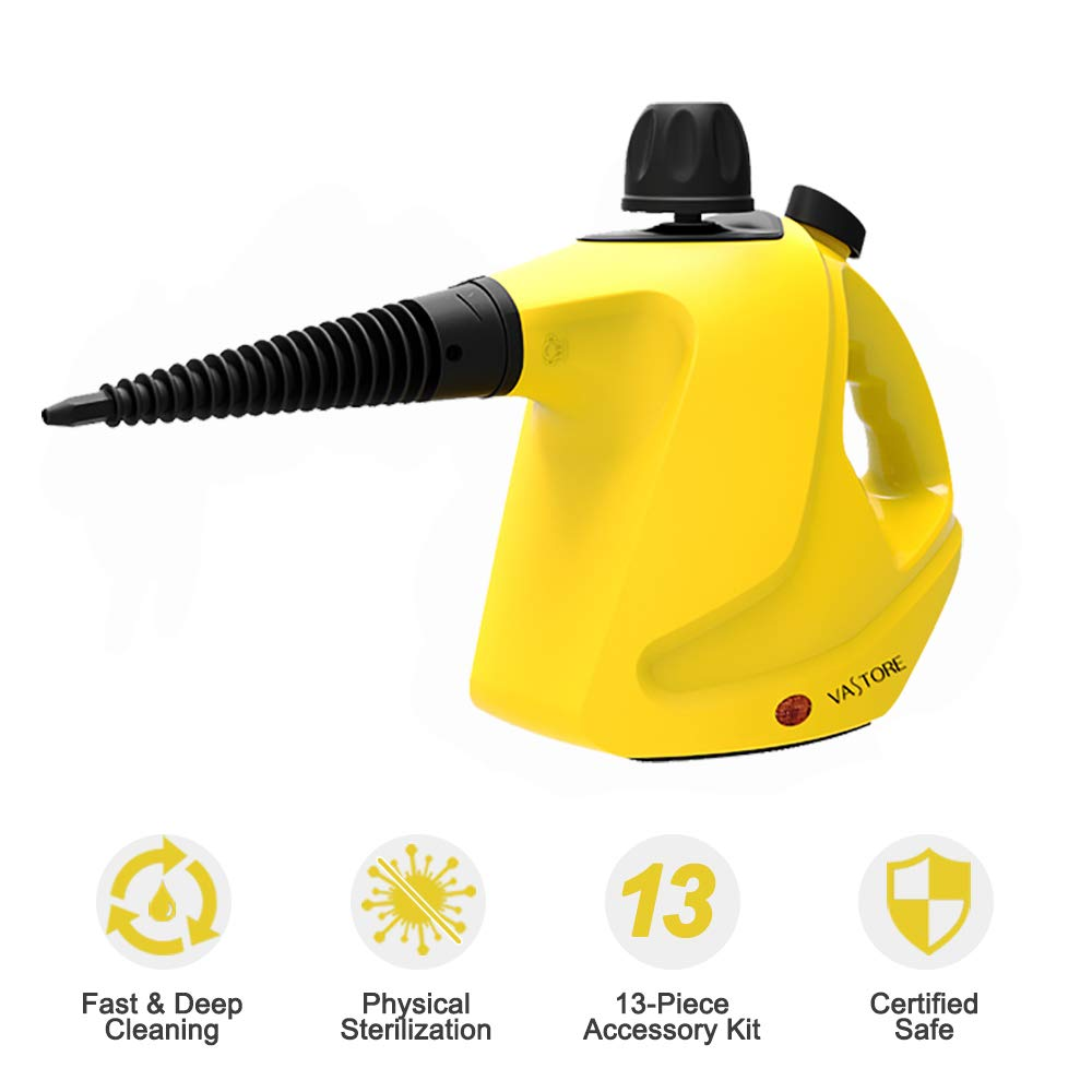 VASTORE 450ML LARGE CAPACIT Handheld Steam Cleaner Multipurpose Compact Lightweight 13-Piece Accessories Stubborn Stains Removal in Bathroom, Kitchen& Much More