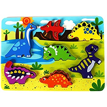 Amazon.com: Cute Dinosaur Chunky Wooden Puzzle for